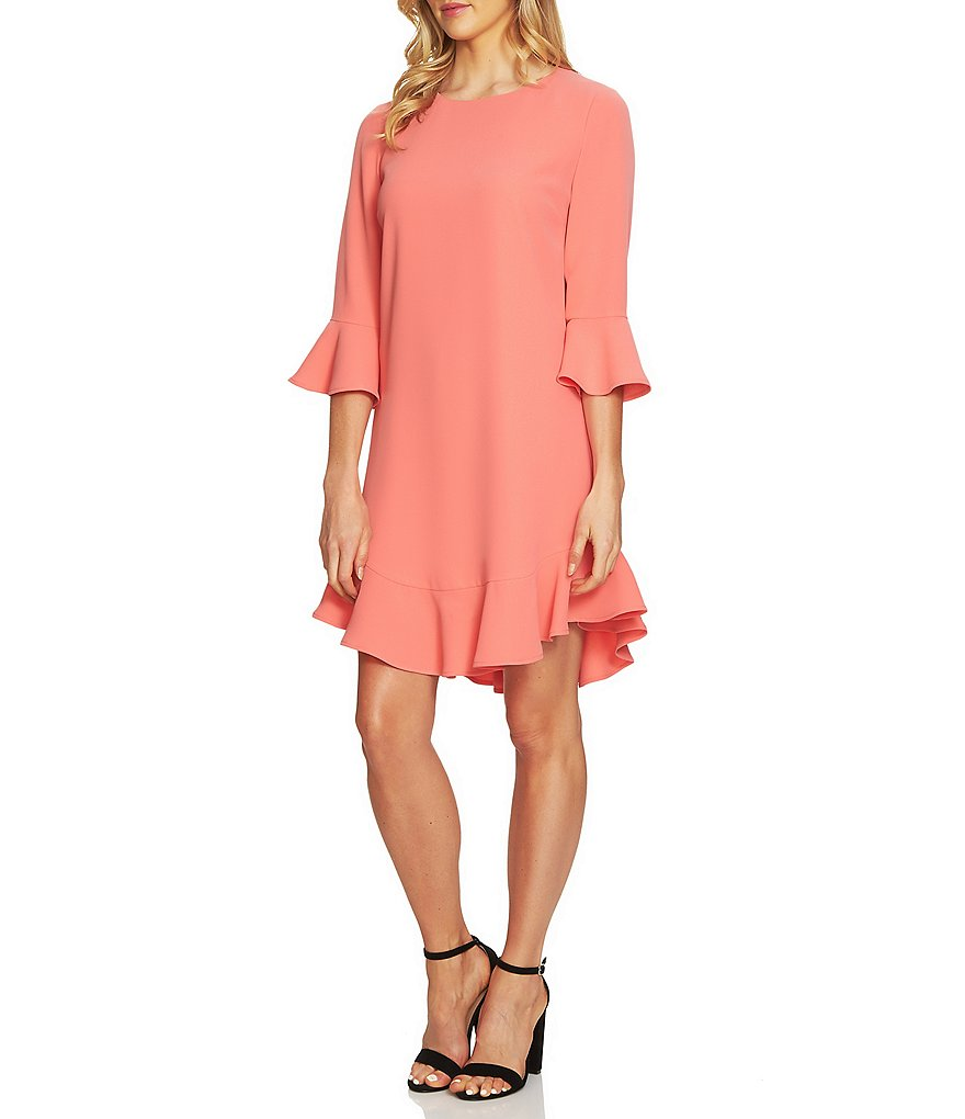 CeCe 3/4 Sleeve Ruffle Hem Shift Dress