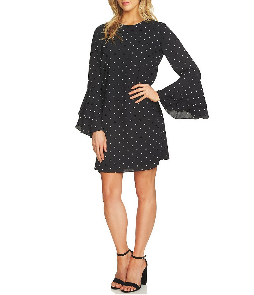 CeCe Bell Sleeve Gallery Polka Dot Dress