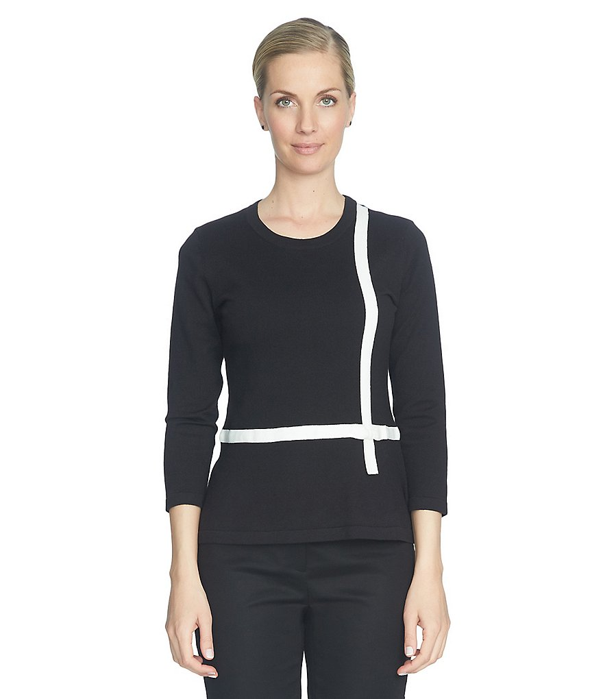 CeCe Contrast Bow Trim Peplum Sweater