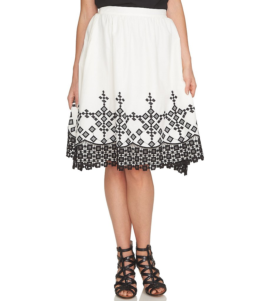 CeCe Cotton Embroidered Full Skirt