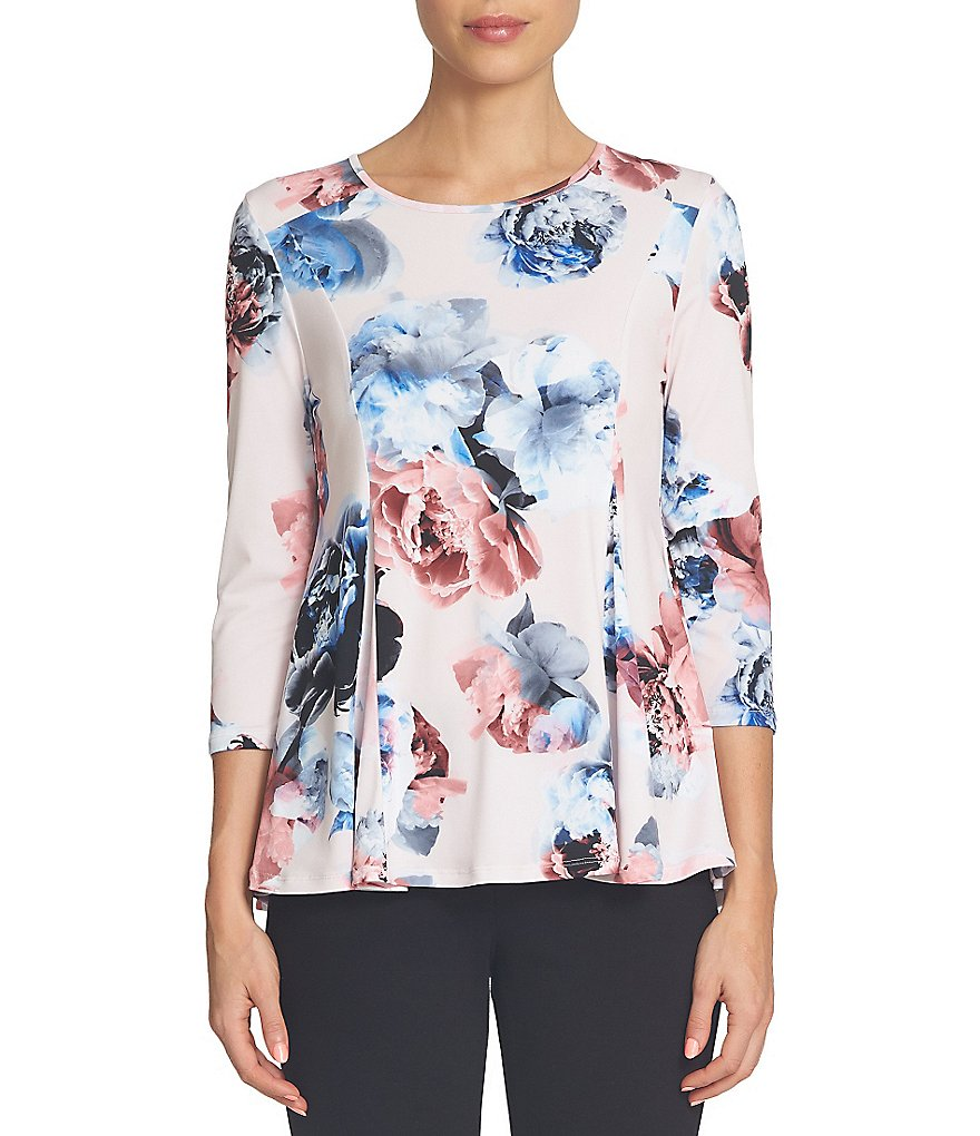 CeCe Crew Neck 3/4 Sleeve Bouquet Dream Peplum Swing Top