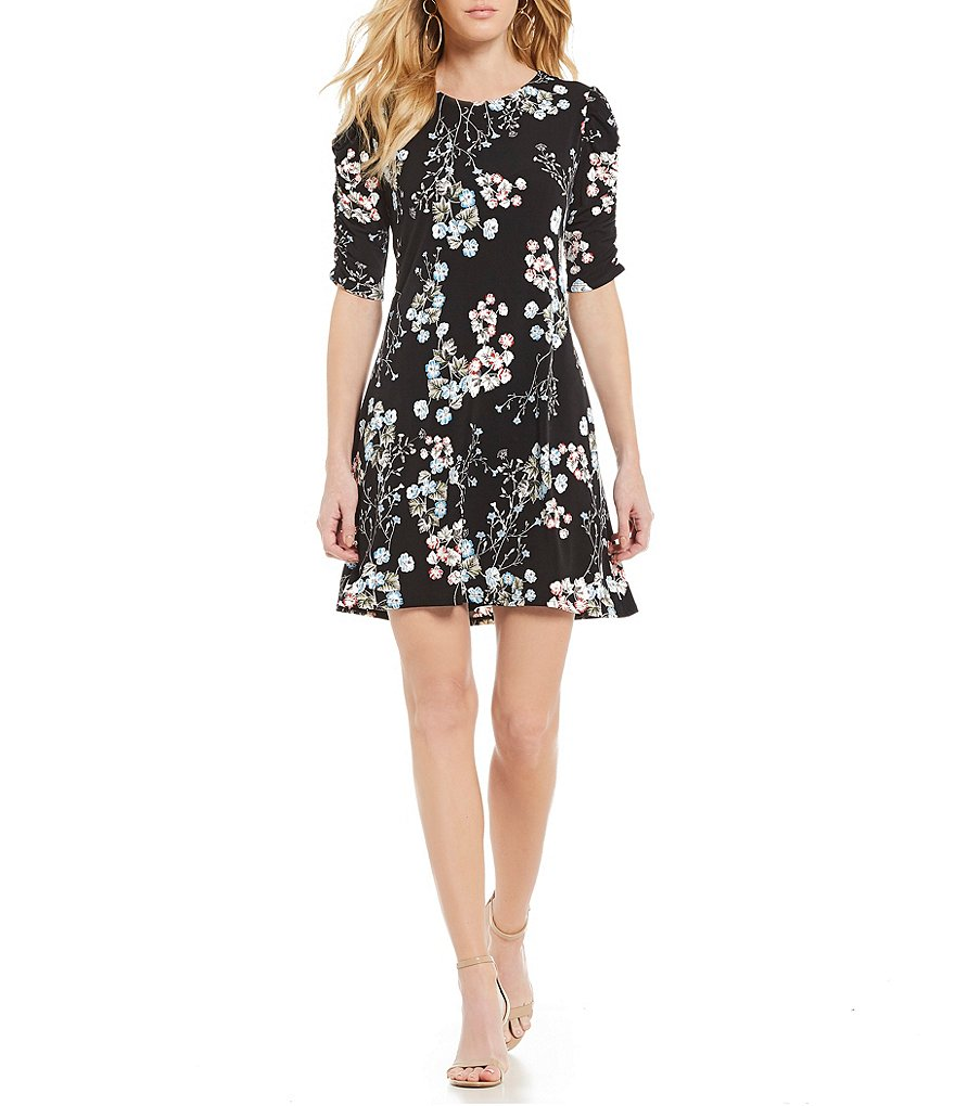 CeCe Gathered Sleeve Floral Print A-Line Dress