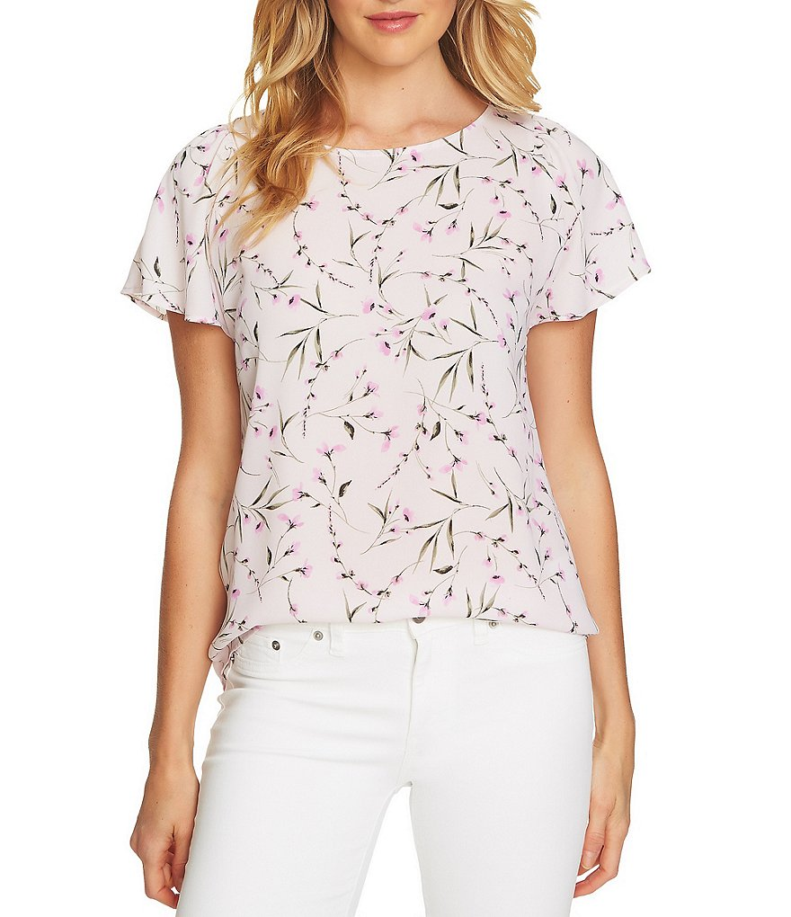 CeCe Graceful Floral Print Flutter Sleeve Blouse