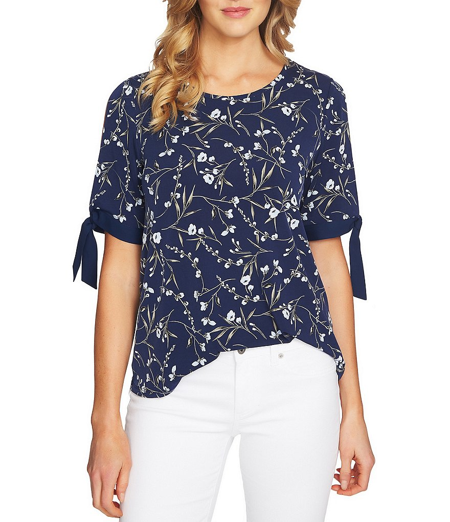 CeCe Graceful Floral Print Tie Sleeve Top
