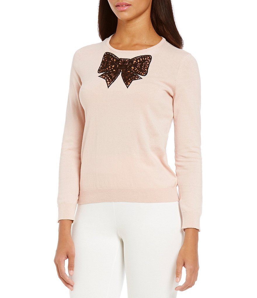 CeCe Lace Bow Insert Long Crewneck Pullover