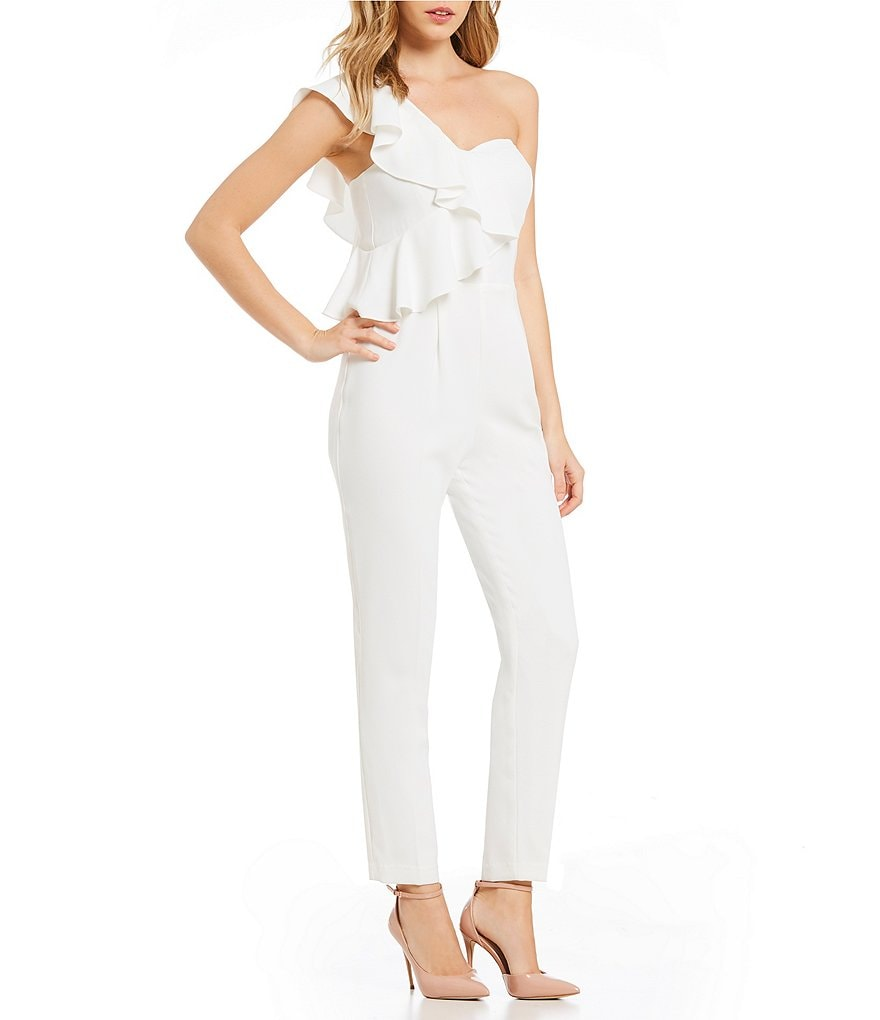 CeCe One Shoulder Ruffle Jumpsuit