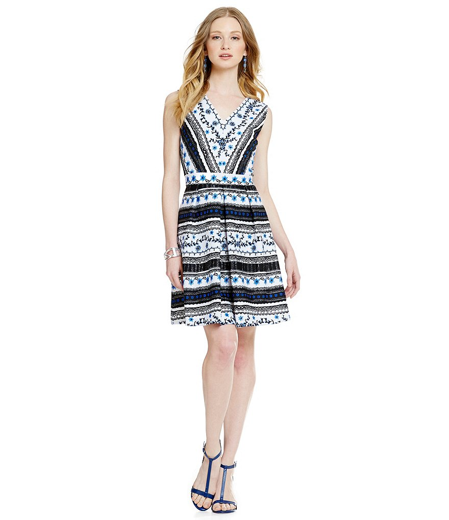 CeCe Rivera Stripe V-Neck Dress