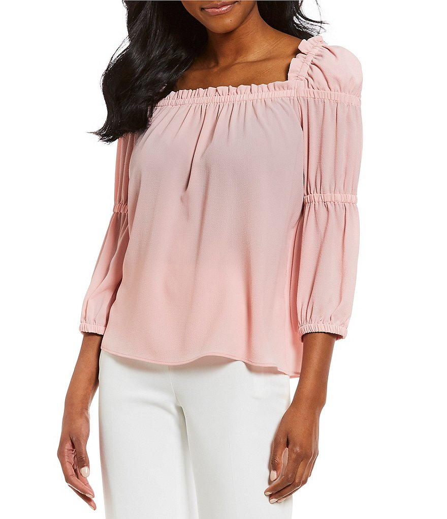 CeCe Ruffle Square Neck Peasant Blouse