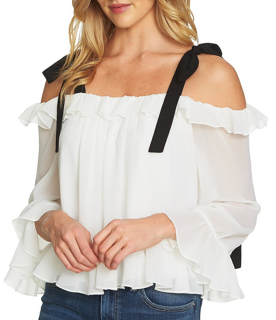 CeCe Ruffled Bow Tie Detail Off the Shoulder Bell Sleeve Blouse