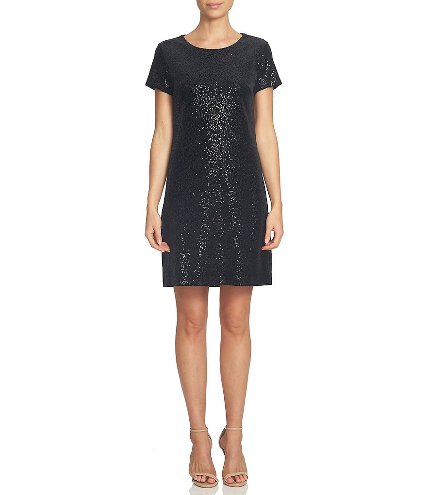 CeCe Sequin Velvet Shift Short Sleeve Dress