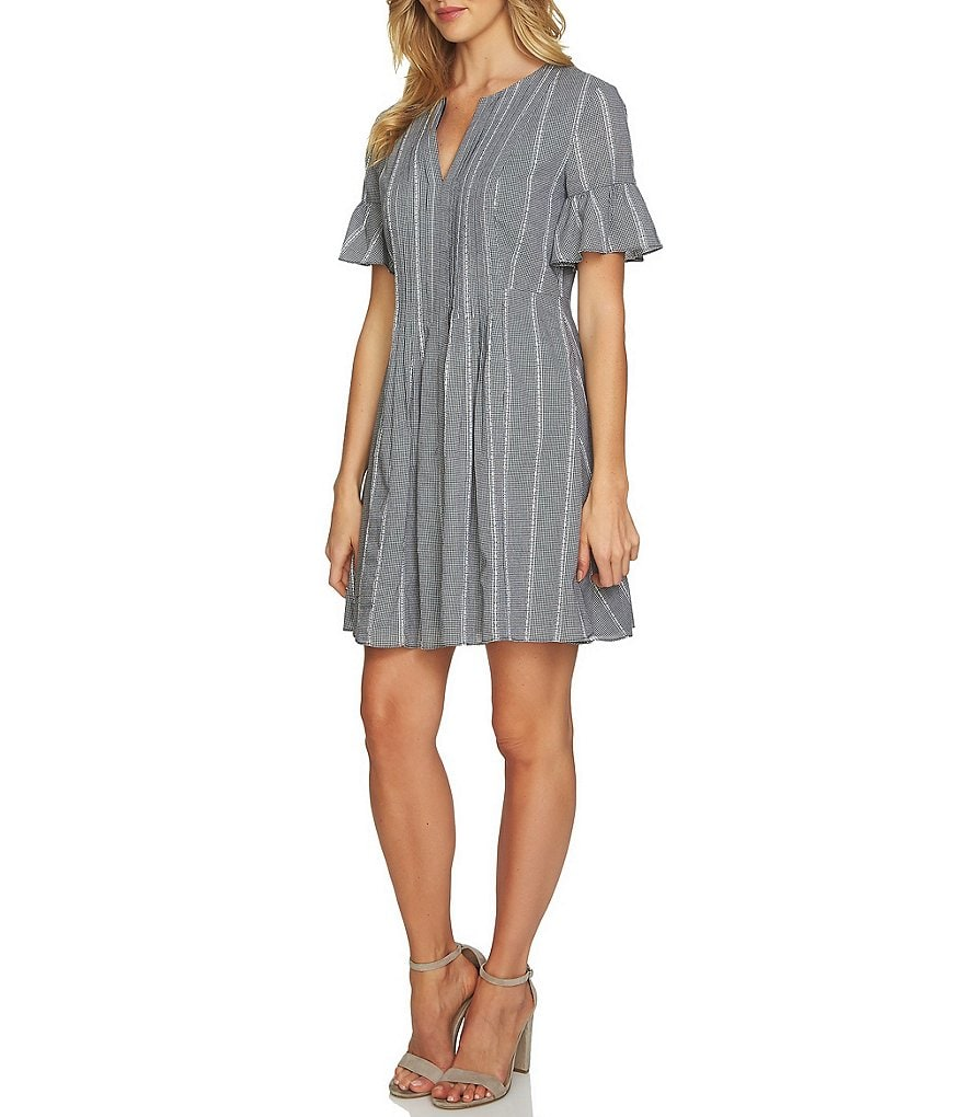 CeCe Short Ruffled Sleeve Pintuck dress