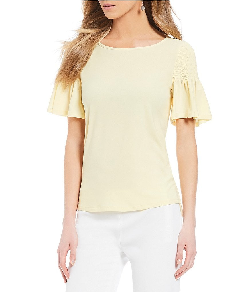 CeCe Smocked Flutter Sleeve Crepe Knit Top