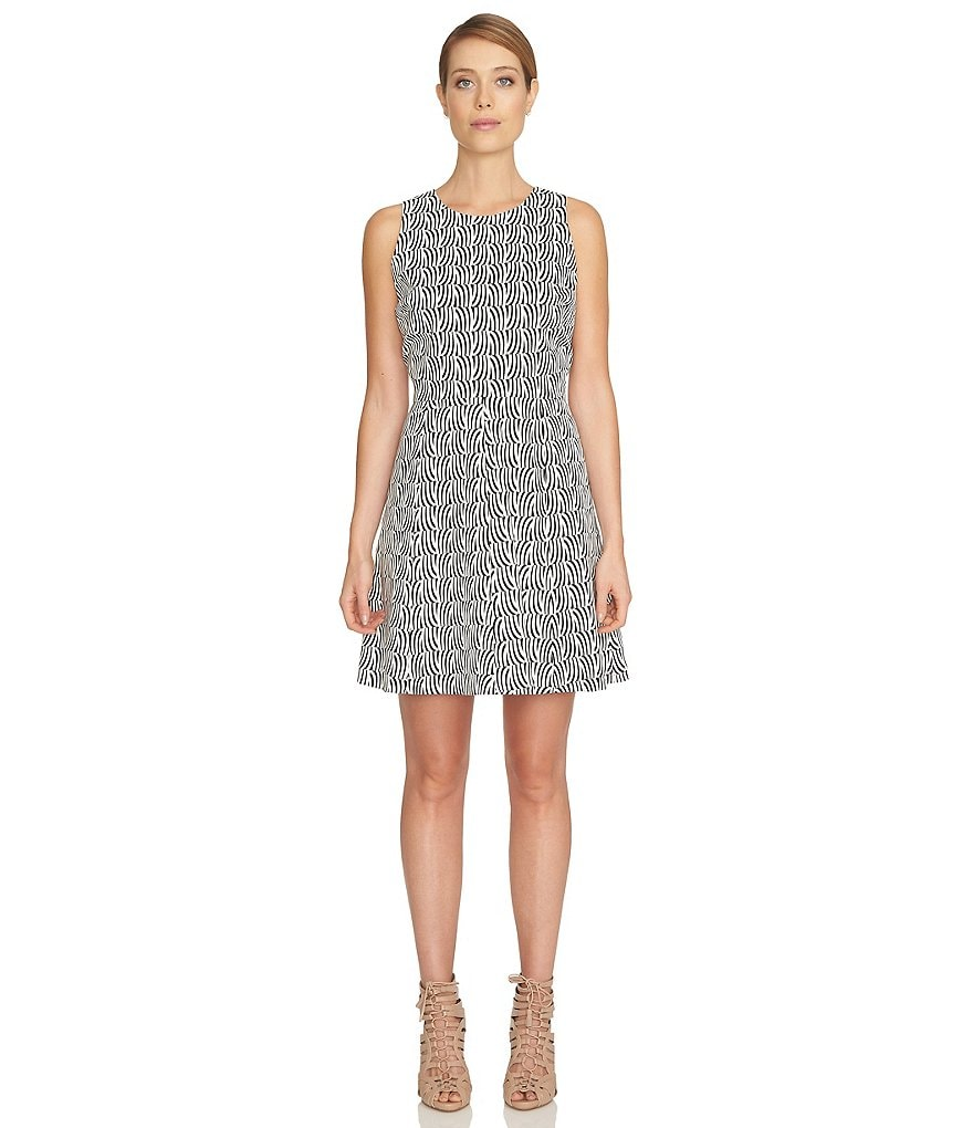 CeCe Stream Check Fit and Flare Dress