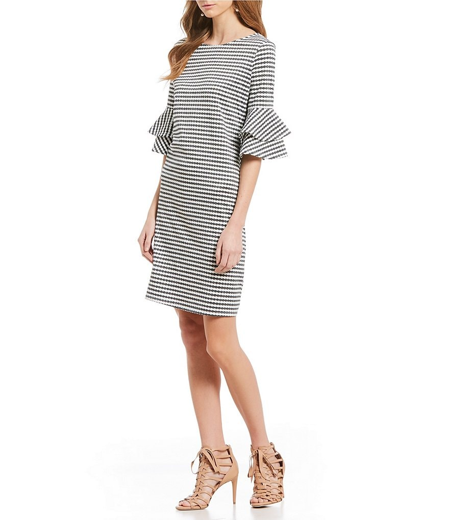 CeCe Stripe 3/4 Tiered Ruffle Sleeve Dress