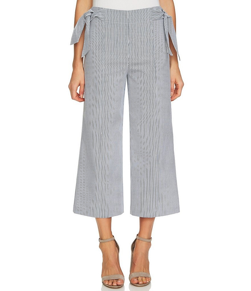 CeCe Stripe Seersucker Side Tie Bow Culotte Pant