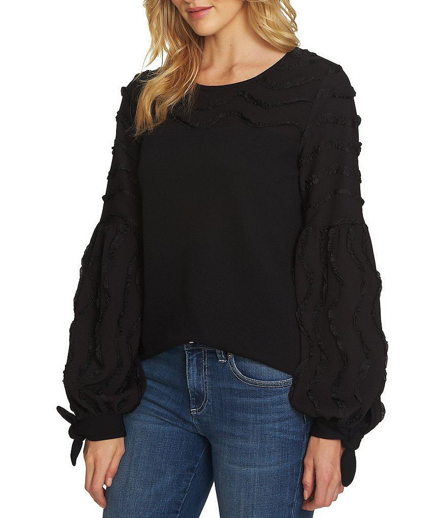 CeCe Tie Detail Balloon Sleeve Textured Ribbon Top