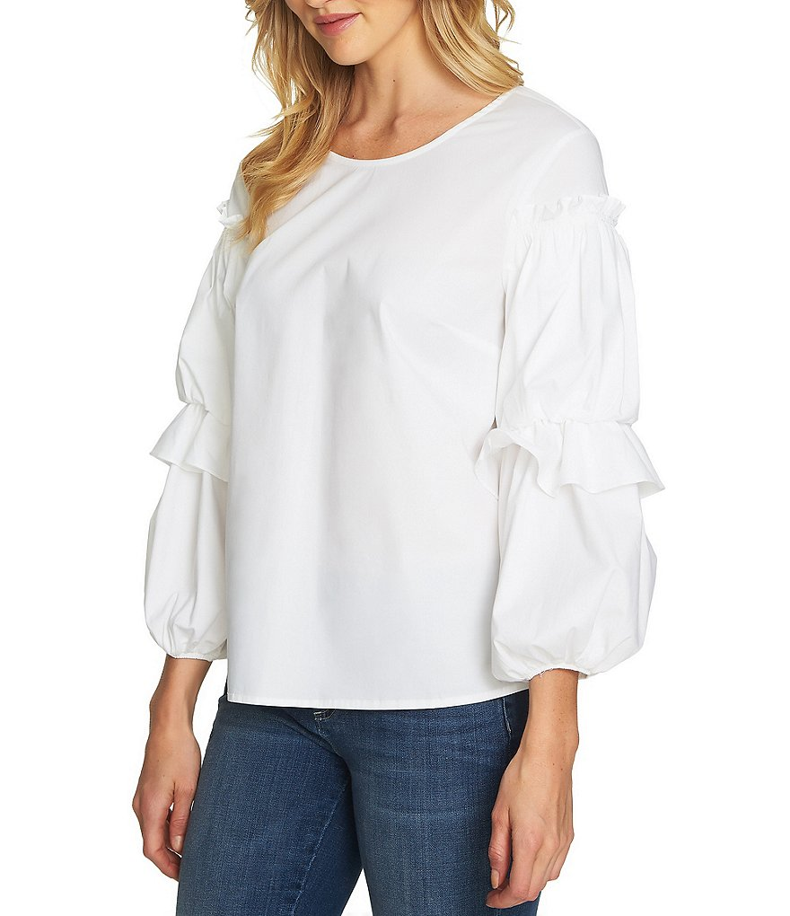 CeCe Tiered Ruffle Balloon Sleeve Novelty Shirting Blouse