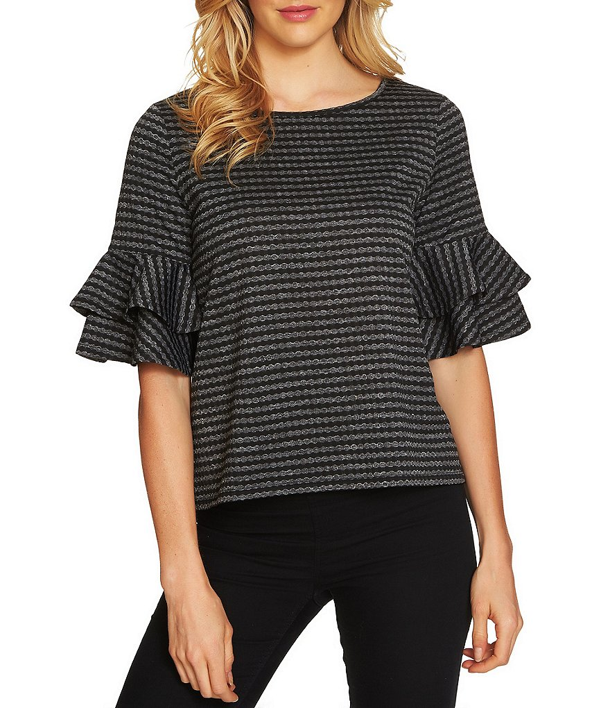 CeCe Tiered Ruffle Bell Sleeve Knit Top