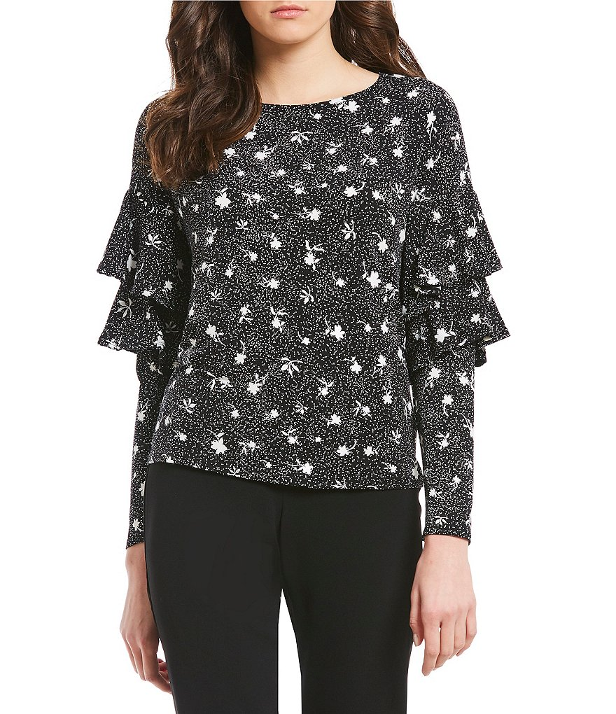 CeCe Tiered Ruffle Sleeve Dotty Silouhette Top