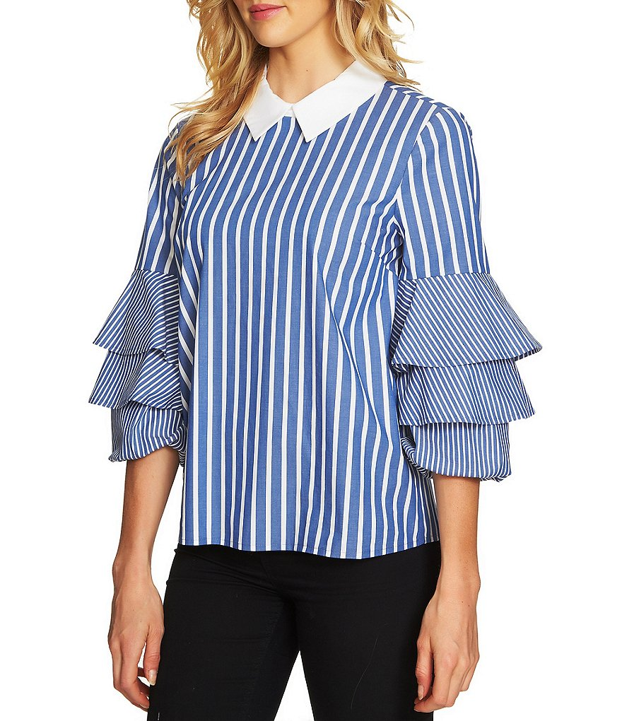CeCe Tiered Ruffle Sleeve Striped Blouse