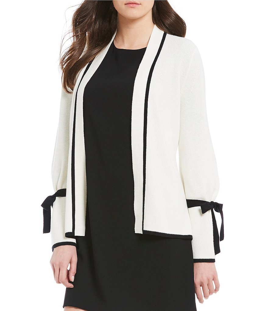 CeCe Tipped Bow Tie Bell Sleeve Cardigan Detail