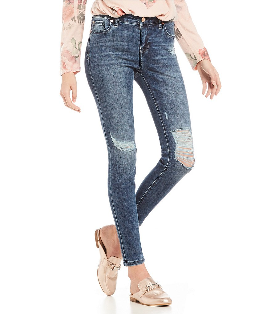 Celebrity Pink Destructed Recycled Denim Ankle Skinny Jeans