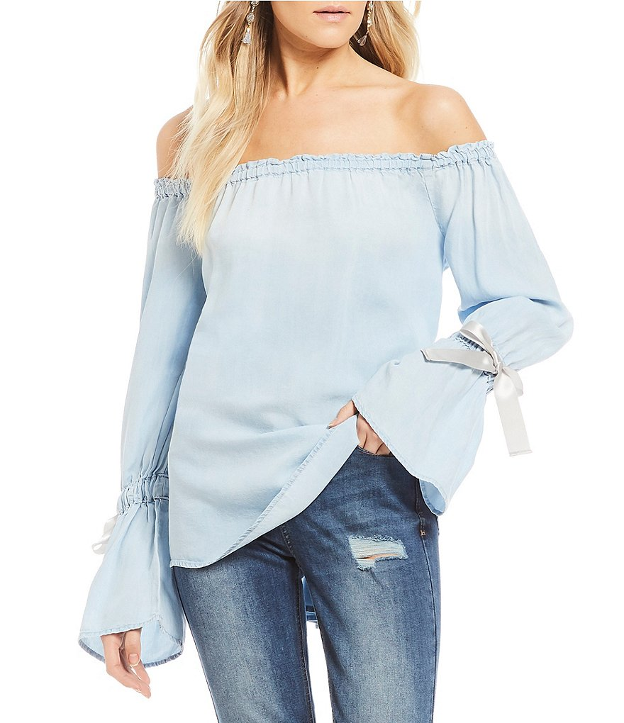 Celebrity Pink Off-The-Shoulder Tie Bell Sleeve Chambray Top