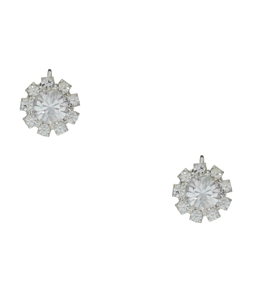 Cezanne Crystal and Rhinestone Flower Stud Clip Earrings
