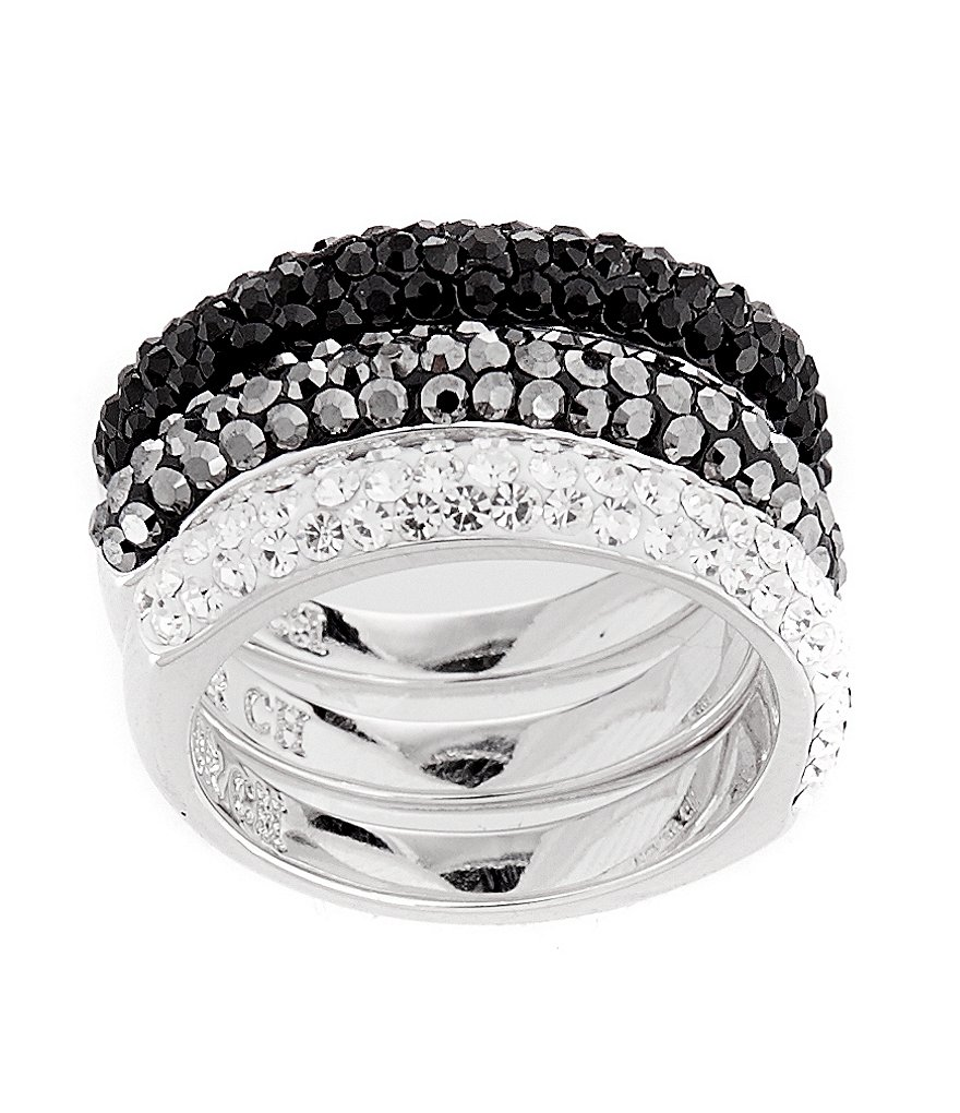 Cezanne Crystal Pavé 3-Piece Stacked Ring Set