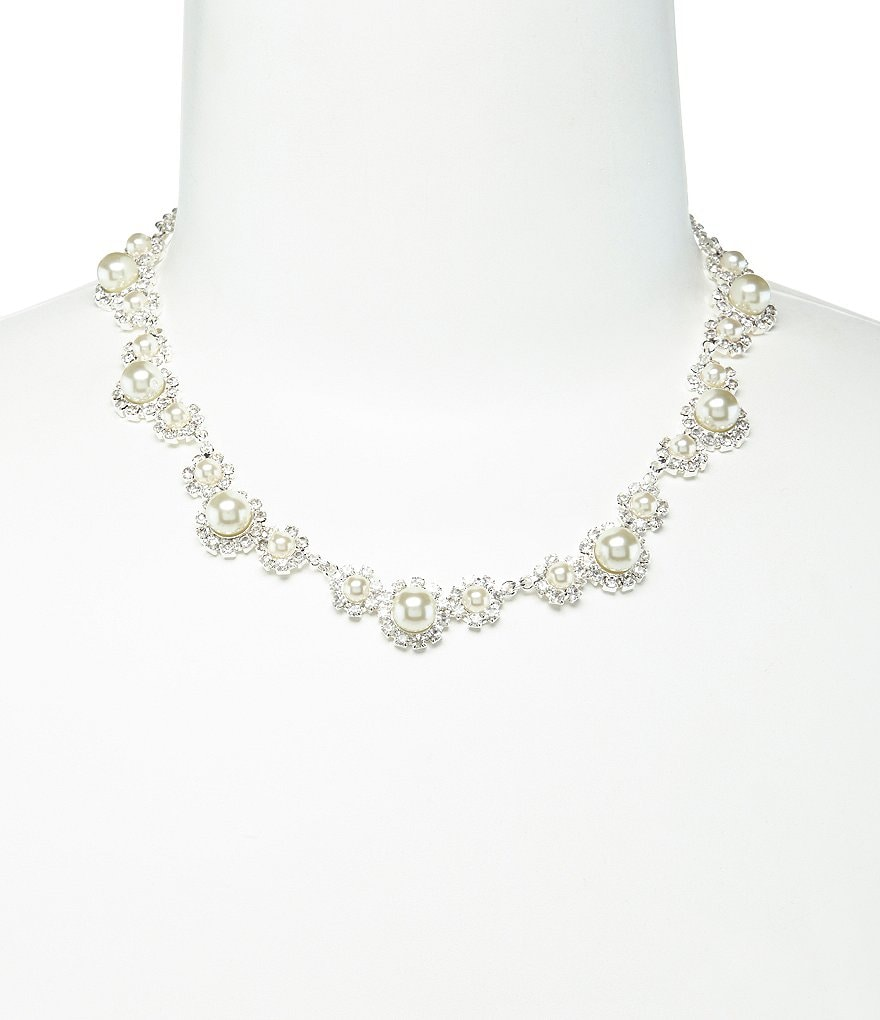 silver trail necklace zi dillards rhinestone and daisy cezanne p pearl faux