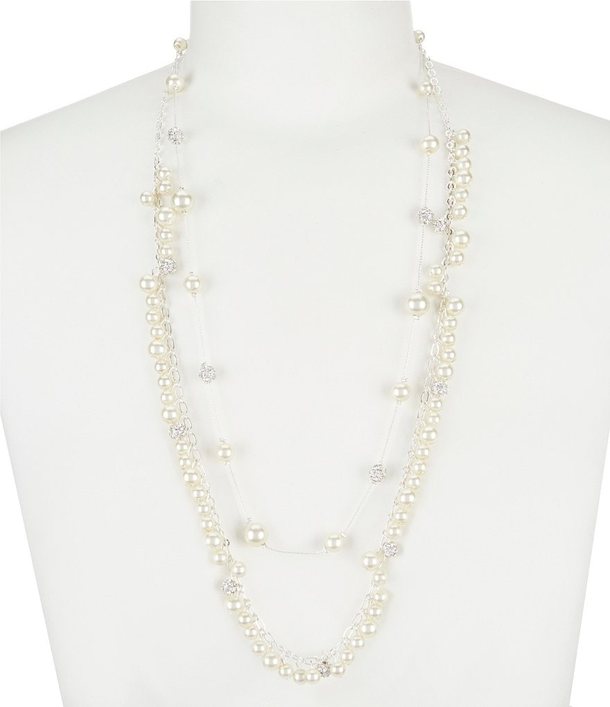 Cezanne Fireball & Faux-Pearl Shaky Station Necklace