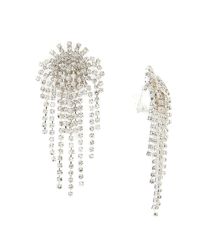 Cezanne Fireworks Rhinestone Clip-On Statement Earrings