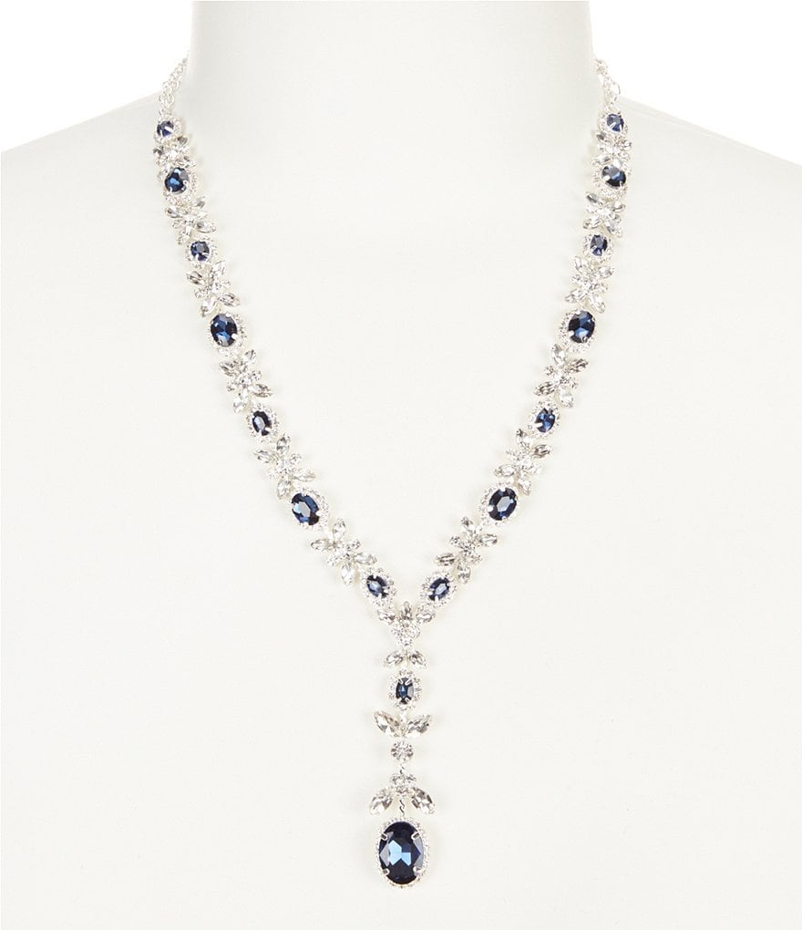 Cezanne Floral Cluster Rhinestone Y-Necklace