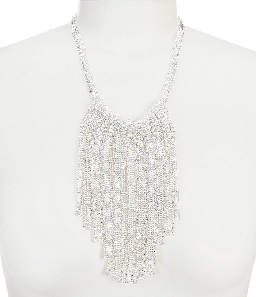 Cezanne Mesh Fringe Statement Necklace