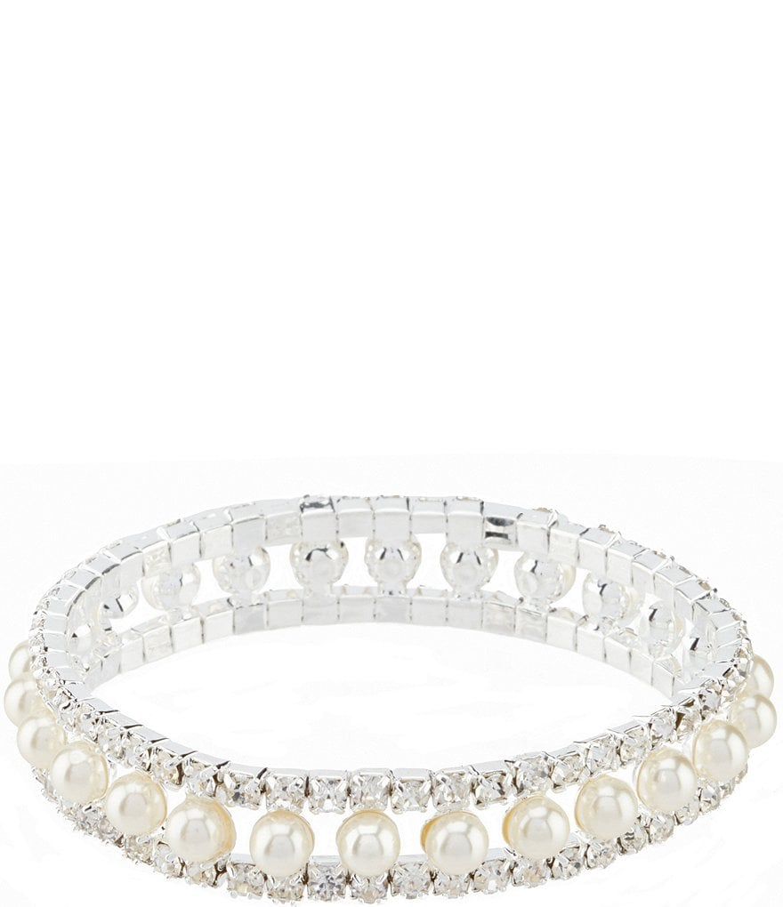 Cezanne Rhinestone and Pearl Stretch Bracelet