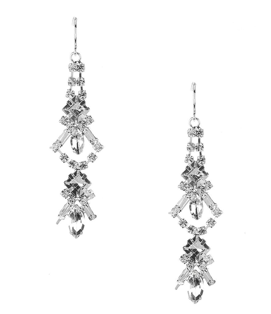 Cezanne Rhinestone Linear Drop Earrings