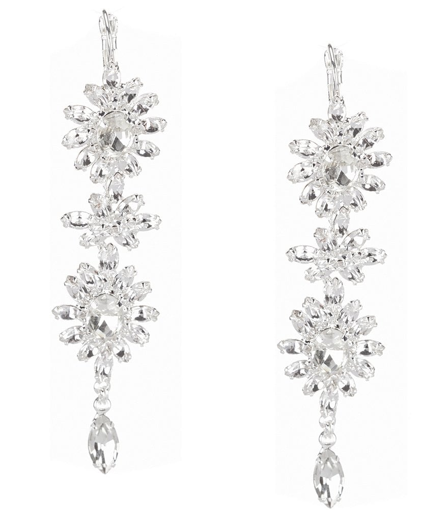 Cezanne Triple Link Rhinestone Starbursts Linear Earrings
