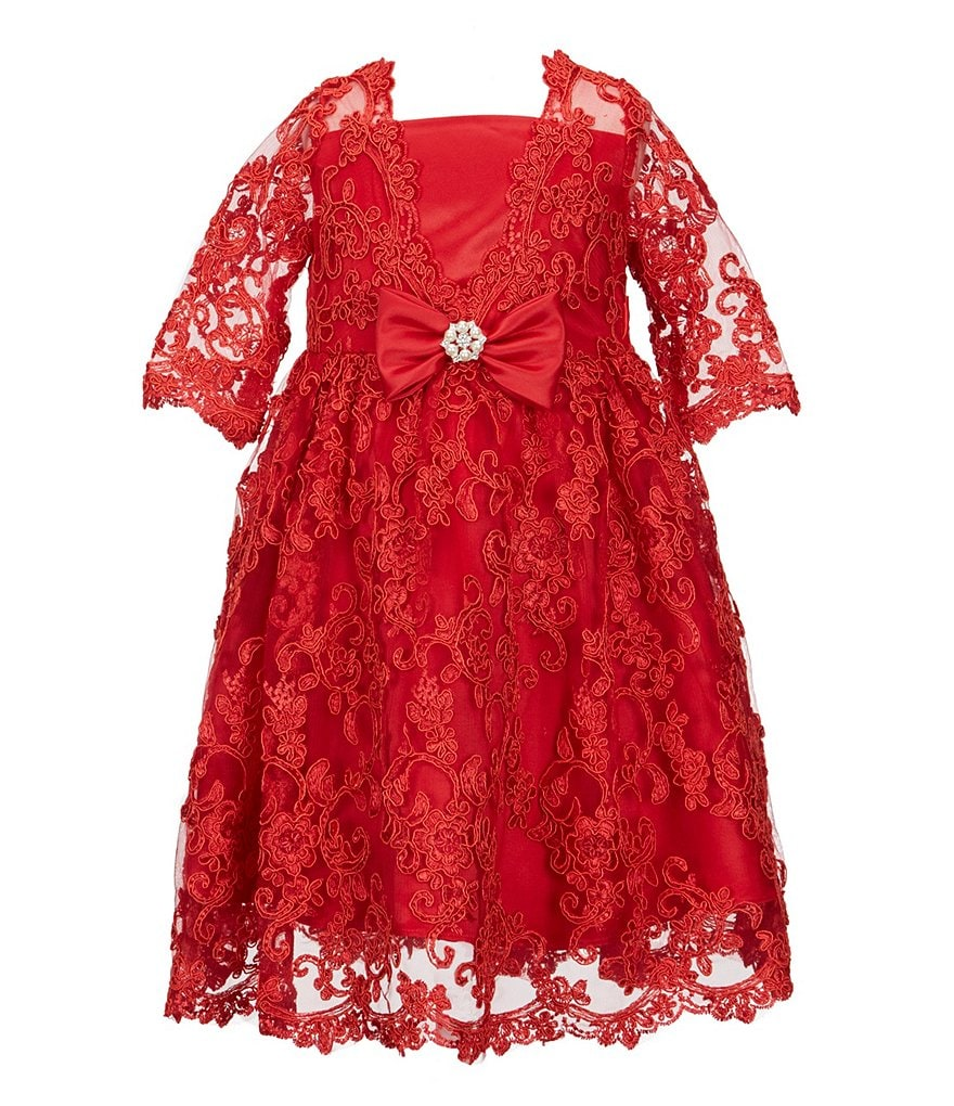 Chantilly Place Little Girls 2T-6X Lace 3/4 Sleeve Dress