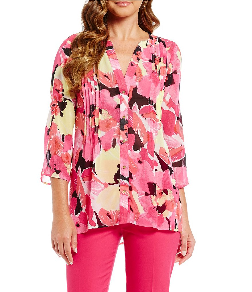 Chaus Flowing Bloom-Print Roll-Tab Pintuck Sharkbite Blouse