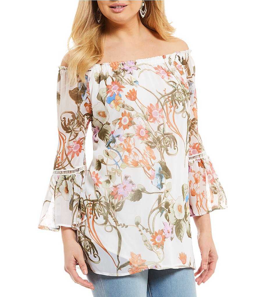 Chelsea & Theodore Bell Sleeve Off-The-Shoulder Floral Print Top