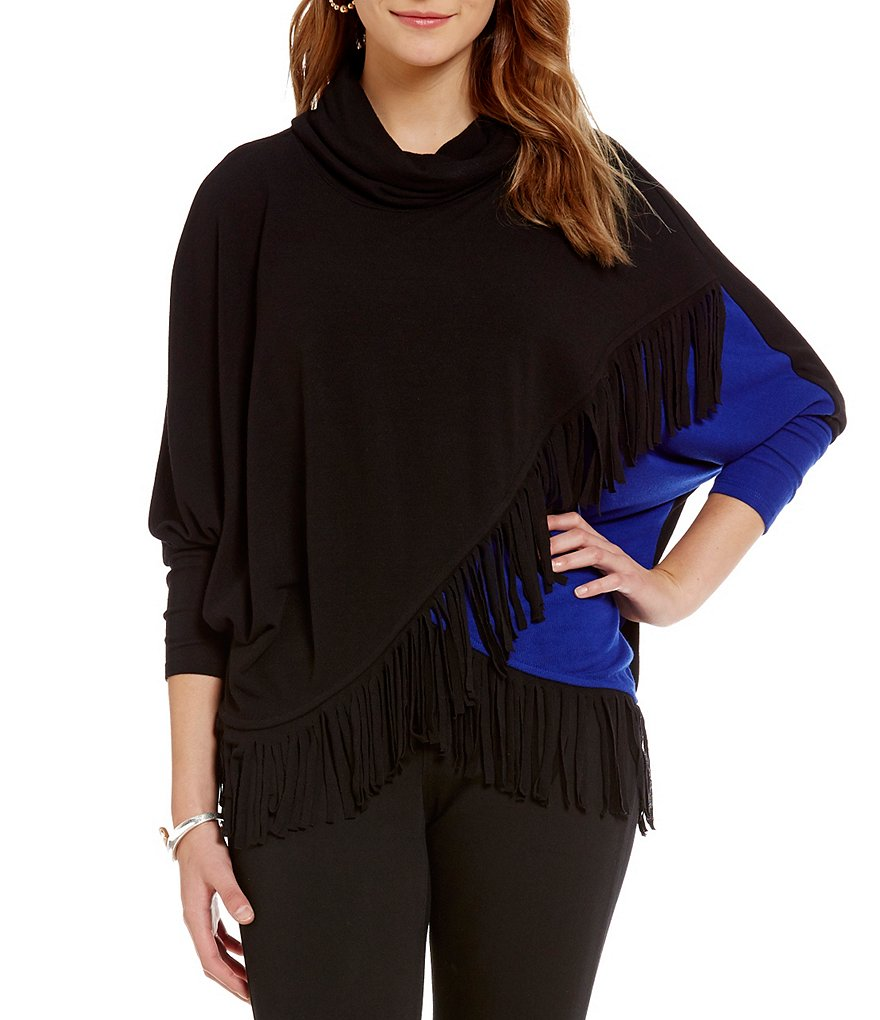 Chelsea & Theodore Colorblock Cowl Neck Cross-Over Fringe Top