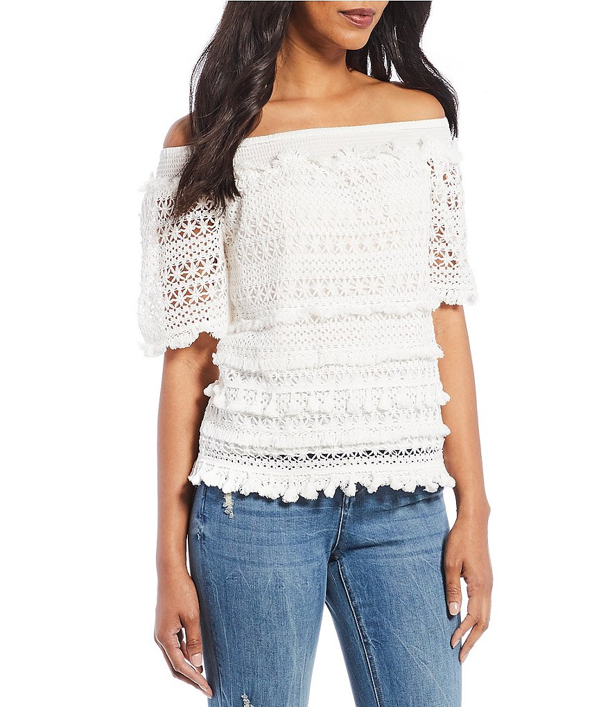 Chelsea & Theodore Crochet Off-The-Shoulder Tassel Trim Top