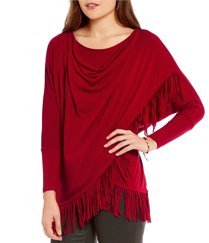 Chelsea & Theodore Drape Neck Cross-Over Fringe Top
