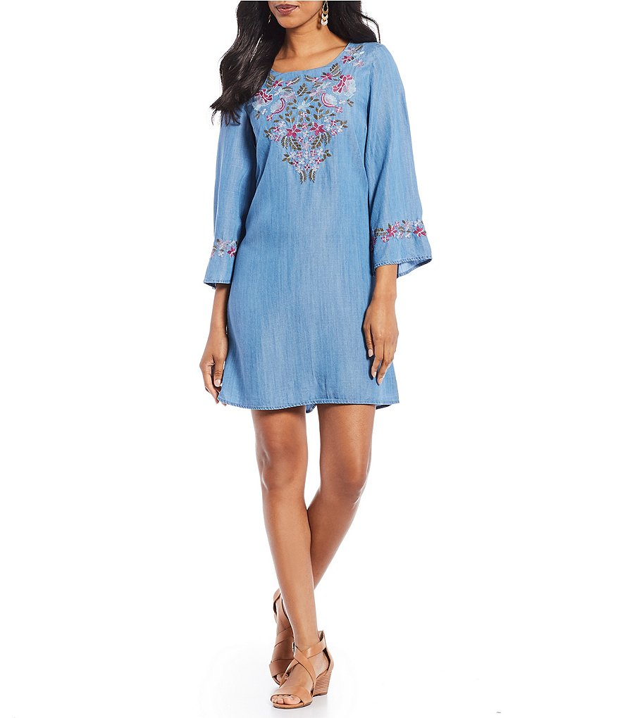 Chelsea & Theodore Floral Embroidered Bell Sleeve Tencel Dress