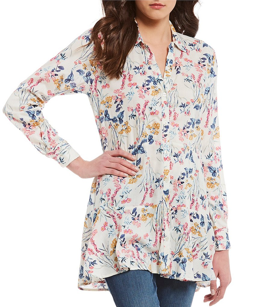 Chelsea & Theodore Floral Printed Peplum Tunic