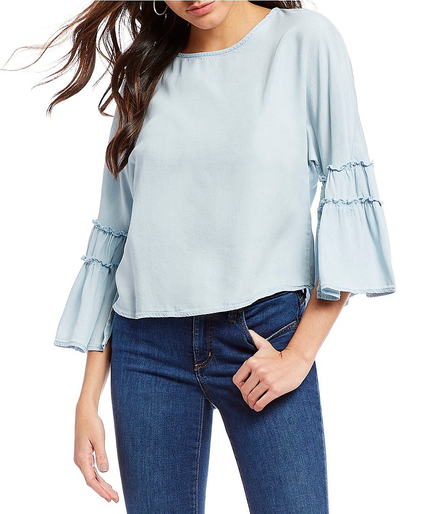 Chelsea & Theodore Long Flared Sleeve Top