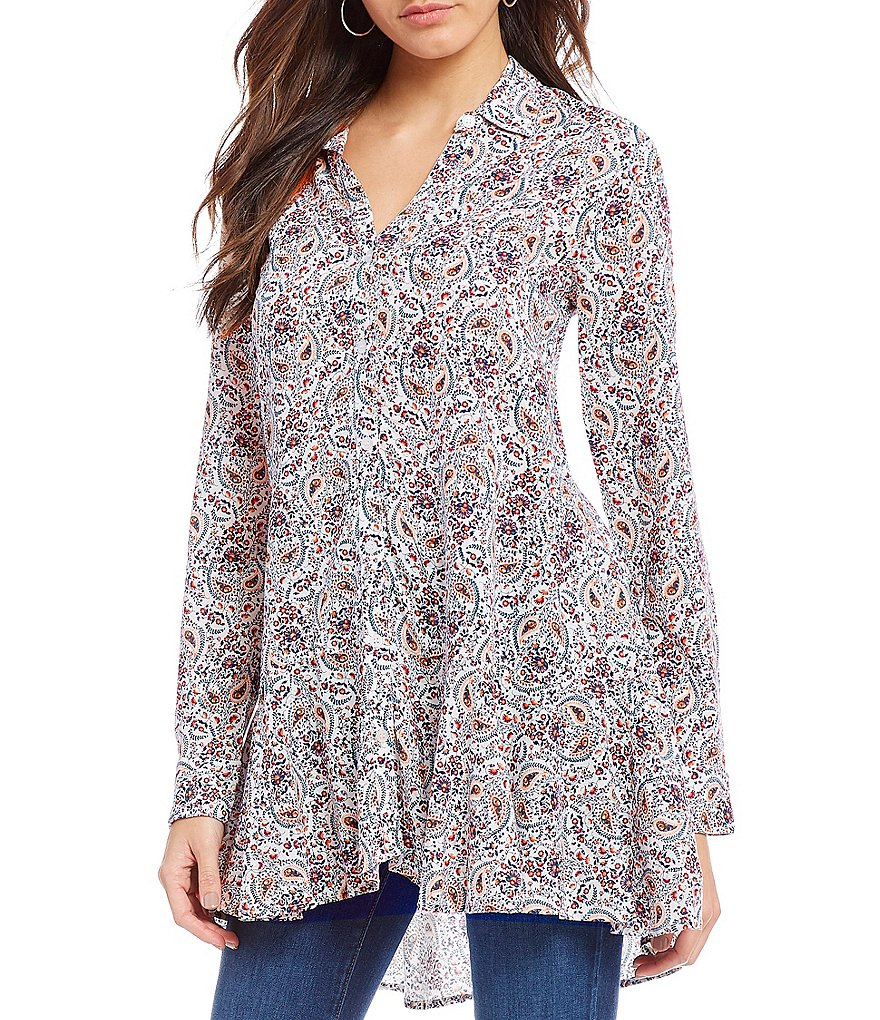 Chelsea & Theodore Long Sleeve Mixed Print Tunic