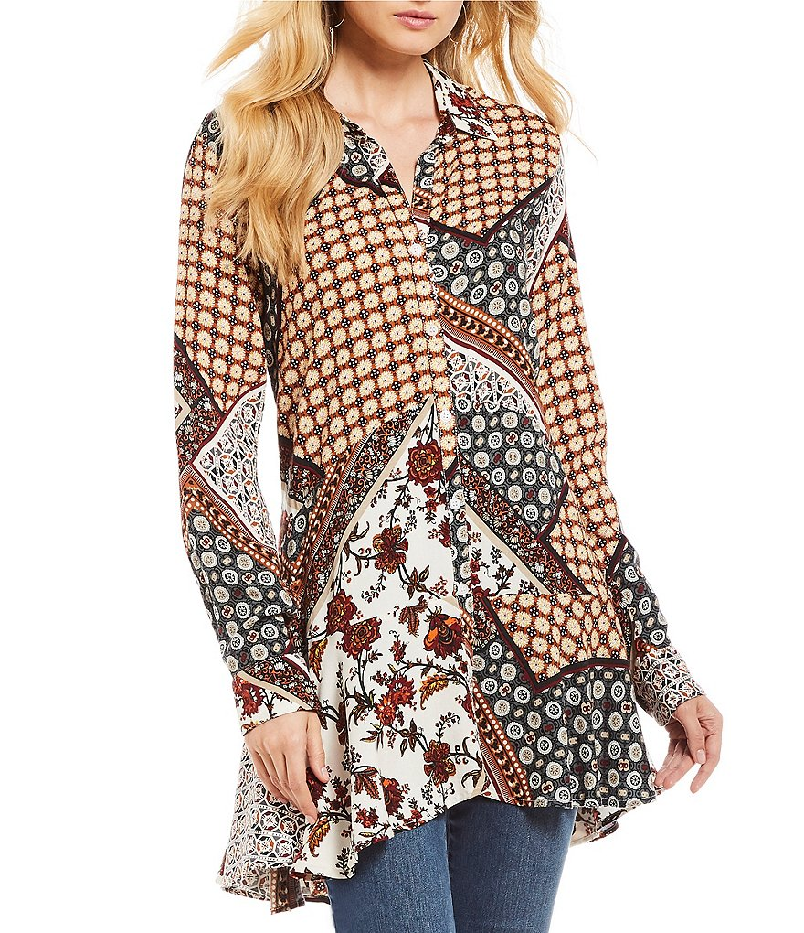 Chelsea & Theodore Long Sleeve Peplum Button-Front Tunic