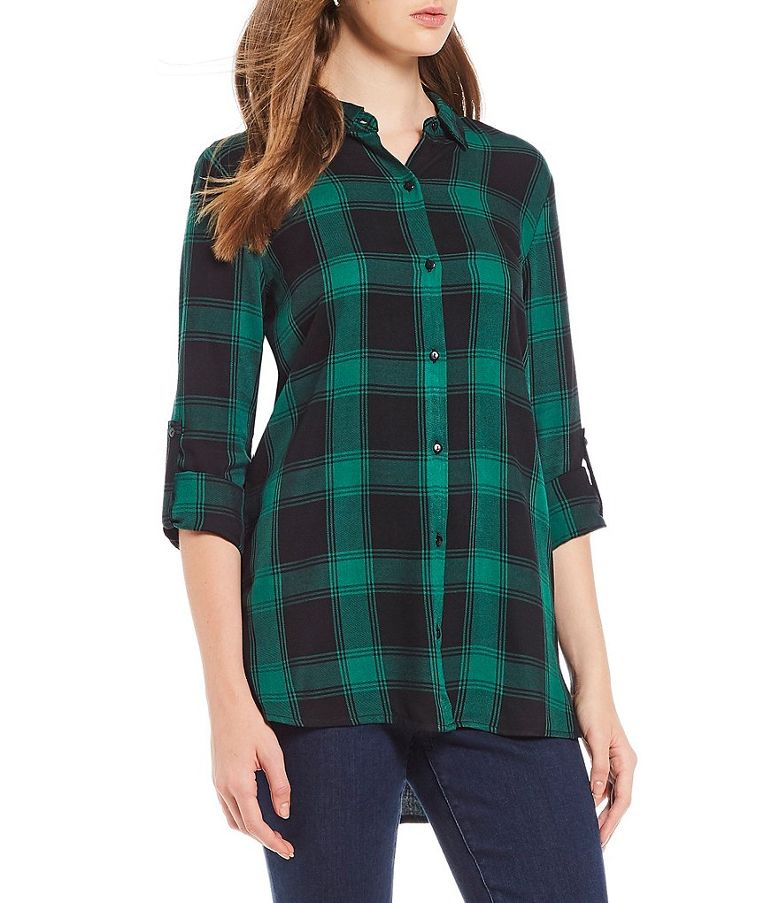 Chelsea & Theodore Petite Size Plaid Roll-Tab Sleeve Button Front Shirt