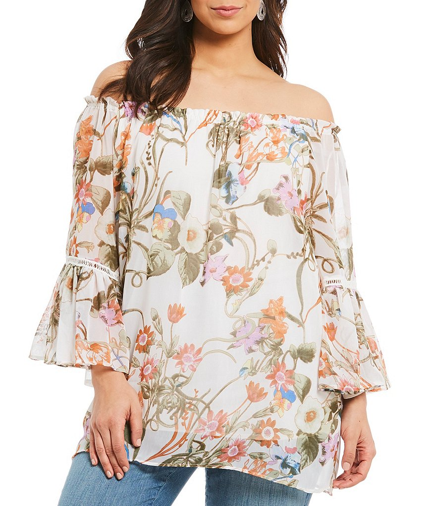 Chelsea & Theodore Plus Bell Sleeve Artisan Floral Print Tunic